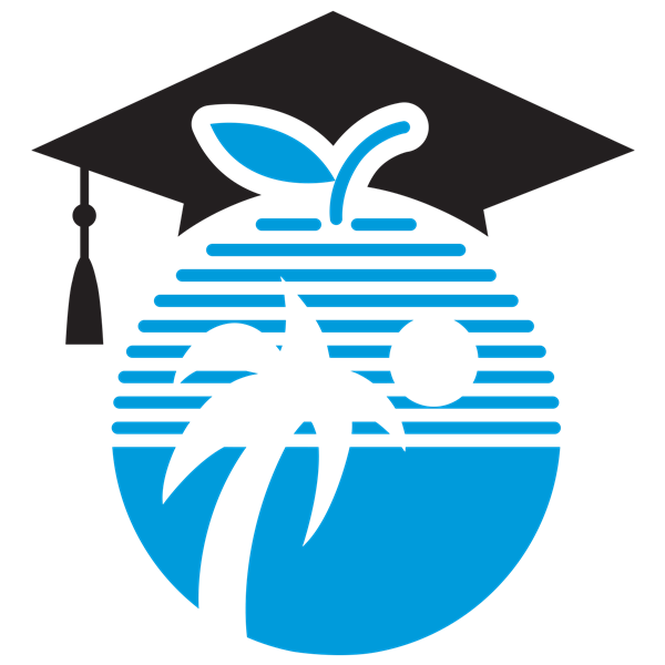 Black mortarboard on a blue circle representing the earth.