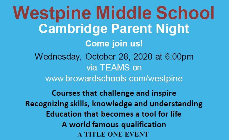 Cambridge Parent Night, on Wed, Oct 28th from 6:00pm
