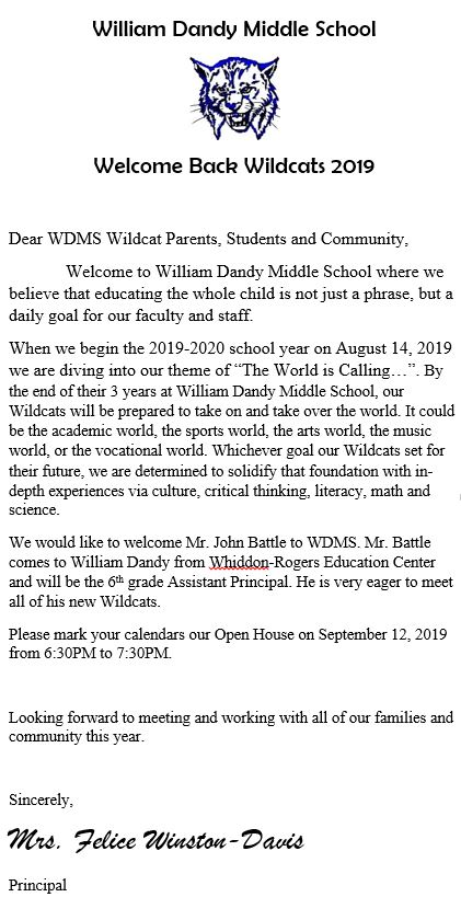 Welcome Back Letter 2019-20