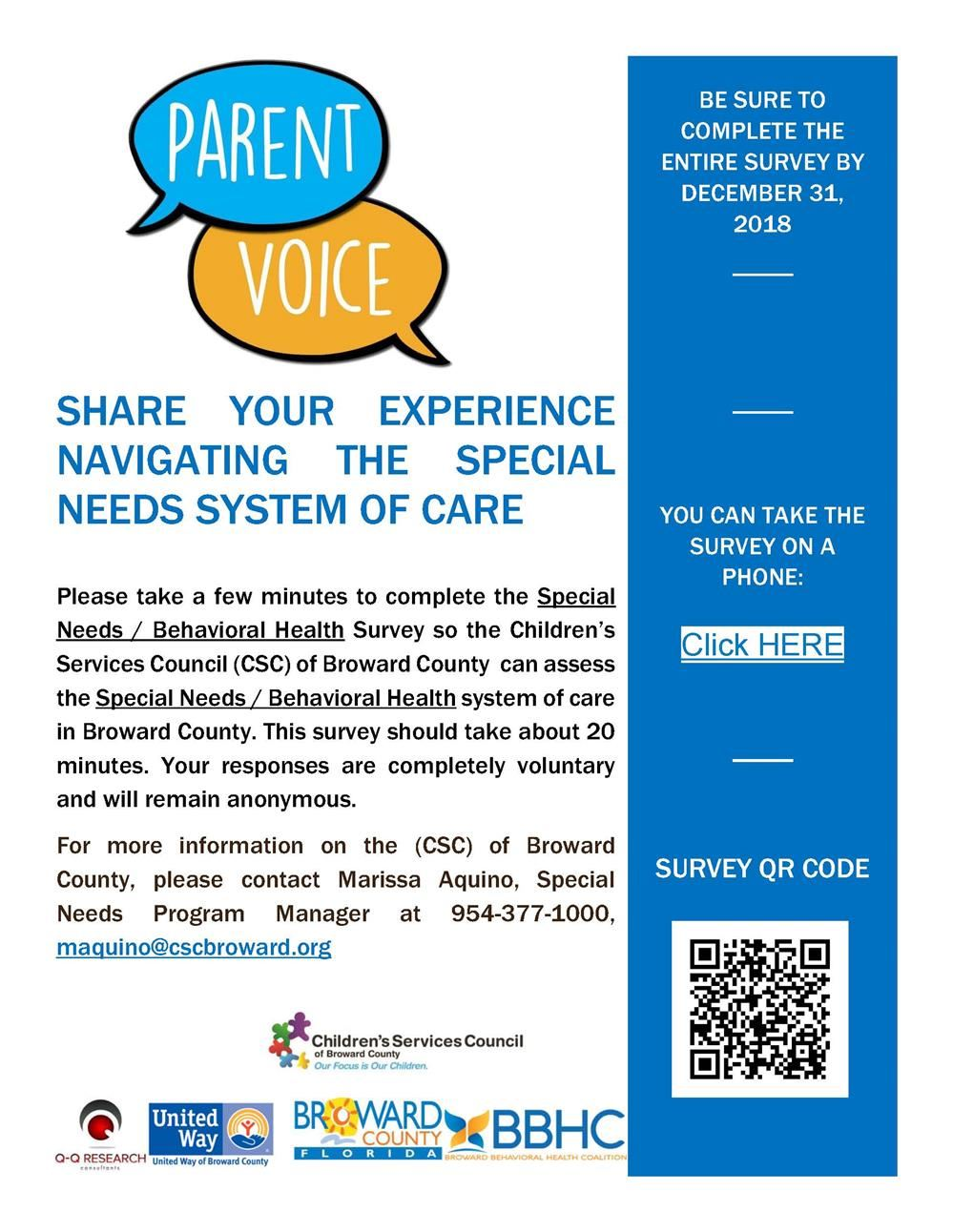 Parent Voice: Special Needs / Behavioral Health Survey