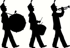 Silhouette of a marching band.