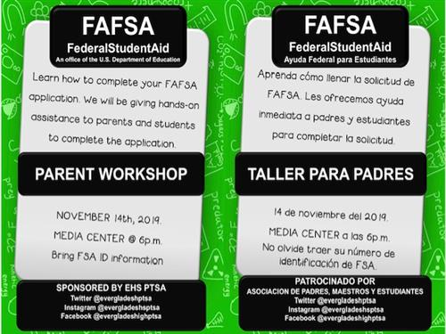 Notice about FAFSA event