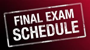 words final exam schedule in burgundy background