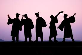 Silhouettes of graduates on a black and purple backgroun