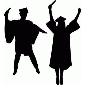 a male and female graduate silhouete