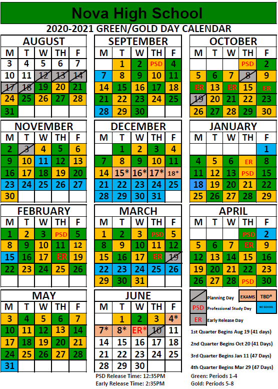 Nova Calendar 2021 Nova High / Homepage
