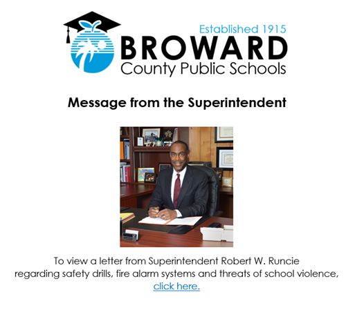 Message from Superintendent banner