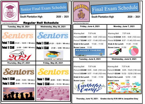 Senior and Undergraduate Final Exam Schedule