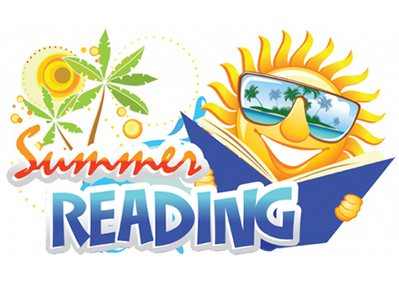 Summer Reading shows picture of the sun with a book