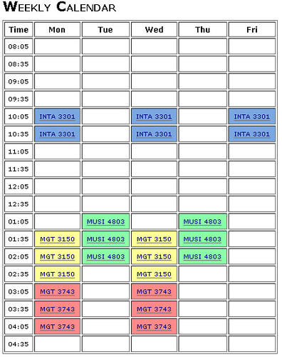 Picture sample of a schedule