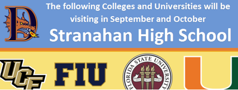 Colleges and Universities will be visiting in September and October. Flyer with dates and logos.