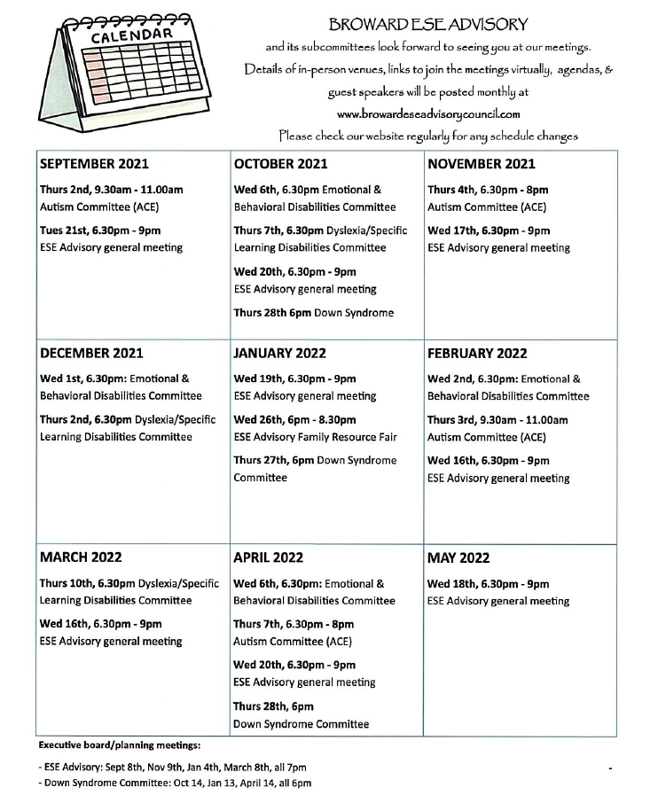 BROWARD EXCEPTIONAL STUDENT EDUCATION (ESE) ADVISORY COUNCIL CALENDAR OF  EVENTS