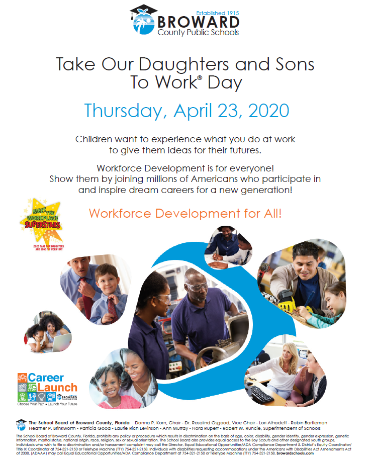 Take our Daughters and Sons to Work Day 2020 Flyer