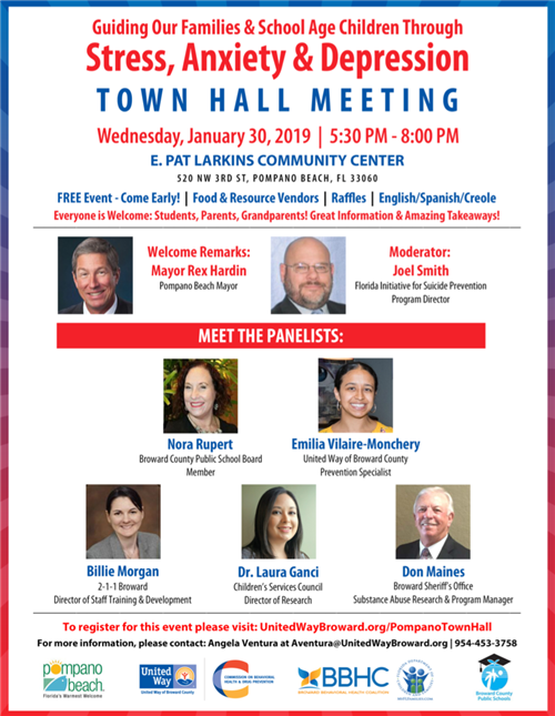 Town Hall Meeting. Wedesday, January 30, 2019 | 5:30 PM - 8:00 PM