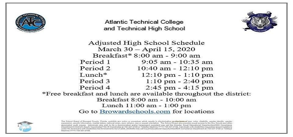 Adjusted High School Schedule March 30 – May 1, 2020