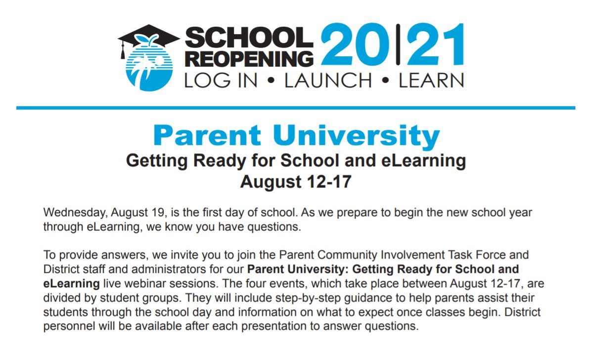 Parent University Getting Ready for School and eLearning