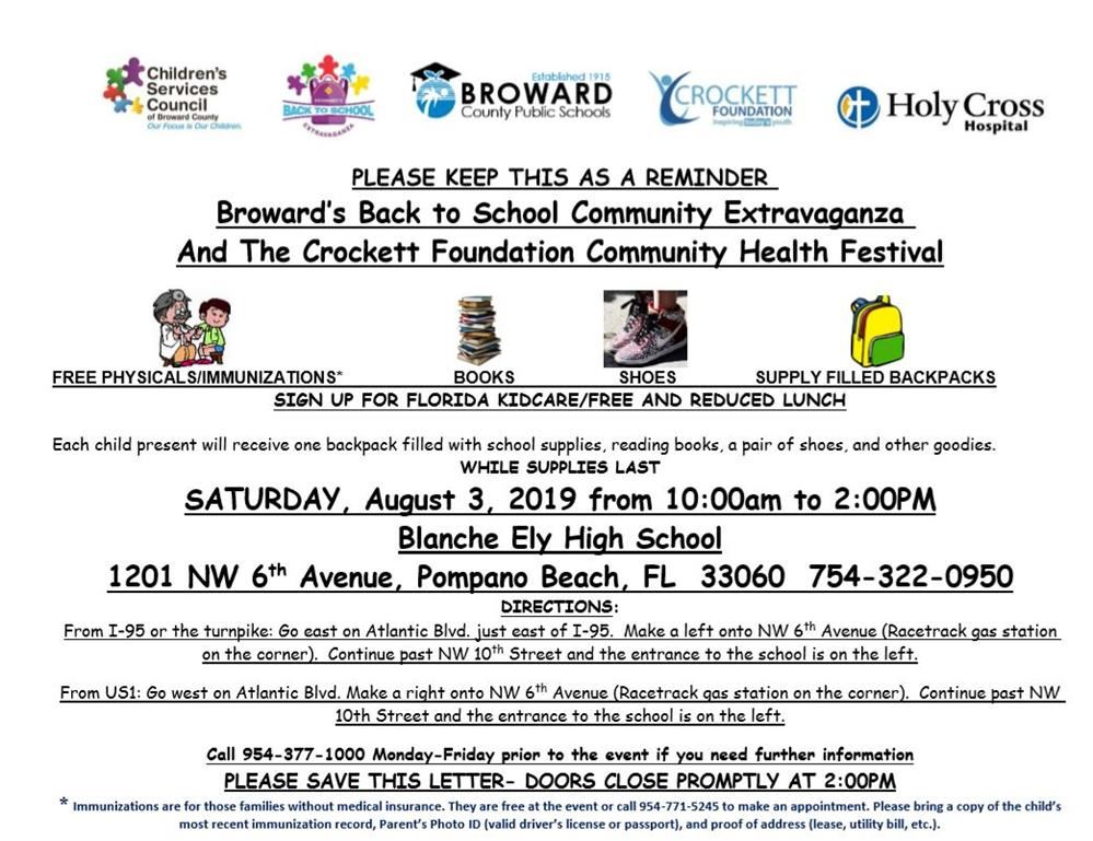 Broward's Back to School Community Extravaganza  And The Crockett Foundation Community Health Festival