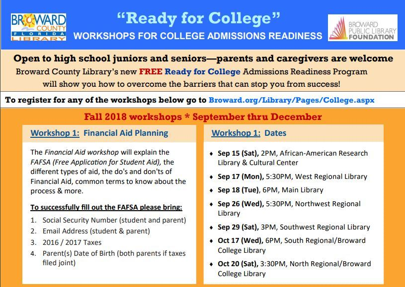 College Readiness Workshop At Broward County Library