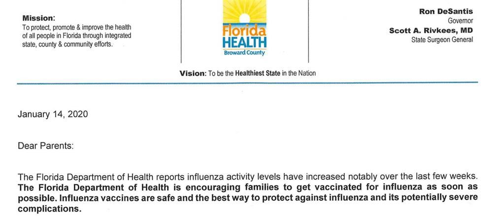 Florida Department of Health -  Flu Letter to Parents