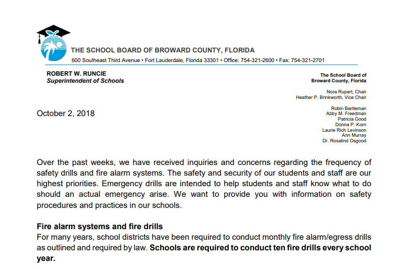 Superintendent's Letter On Safety