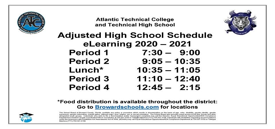 Adjusted High School eLearning 2020 - 2021 Schedule