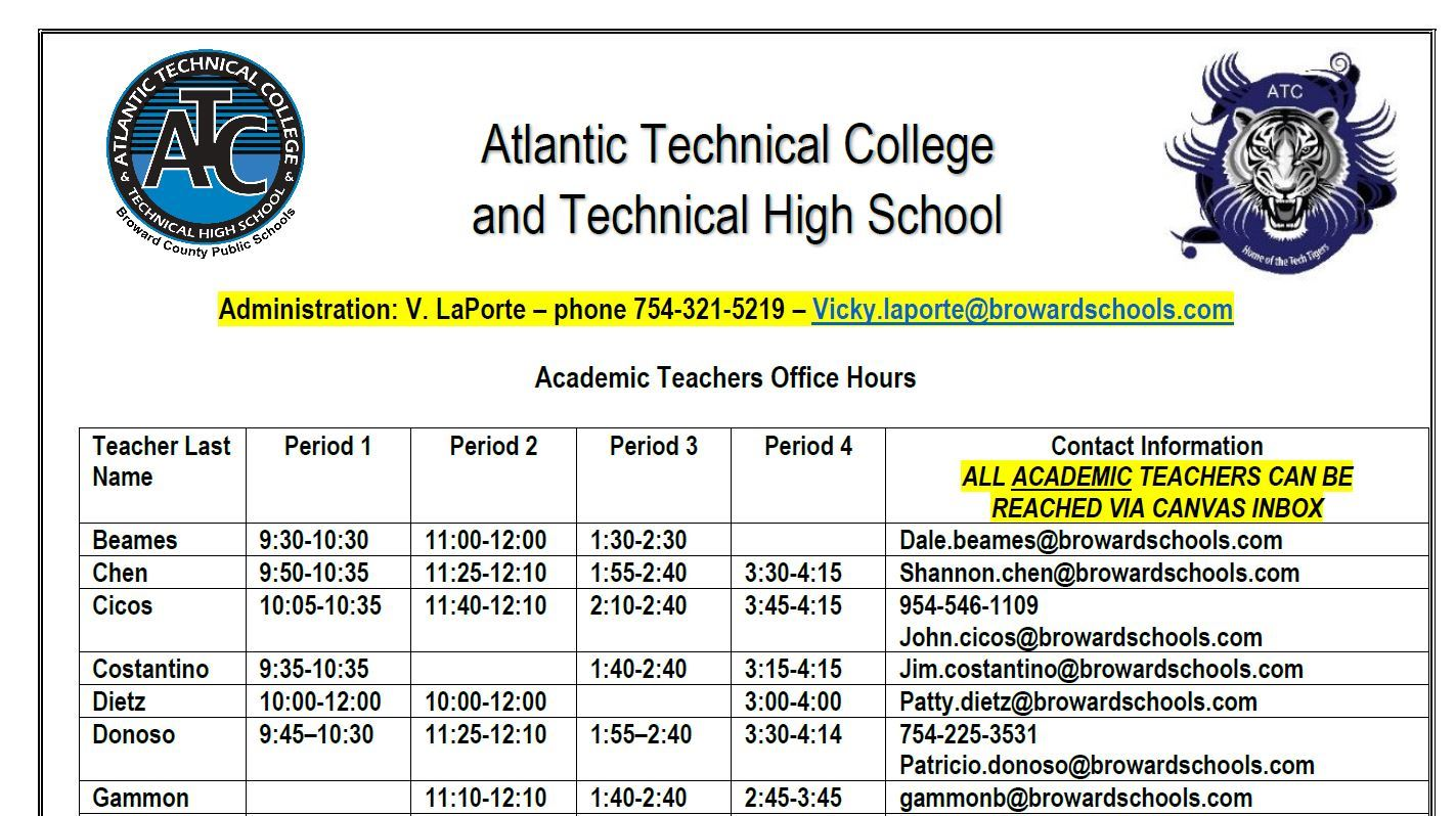 Atlantic Technical College and Technical High School Office Hours