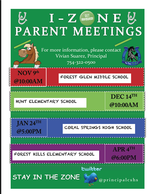 PARENT I-Zone Meeting Dates
