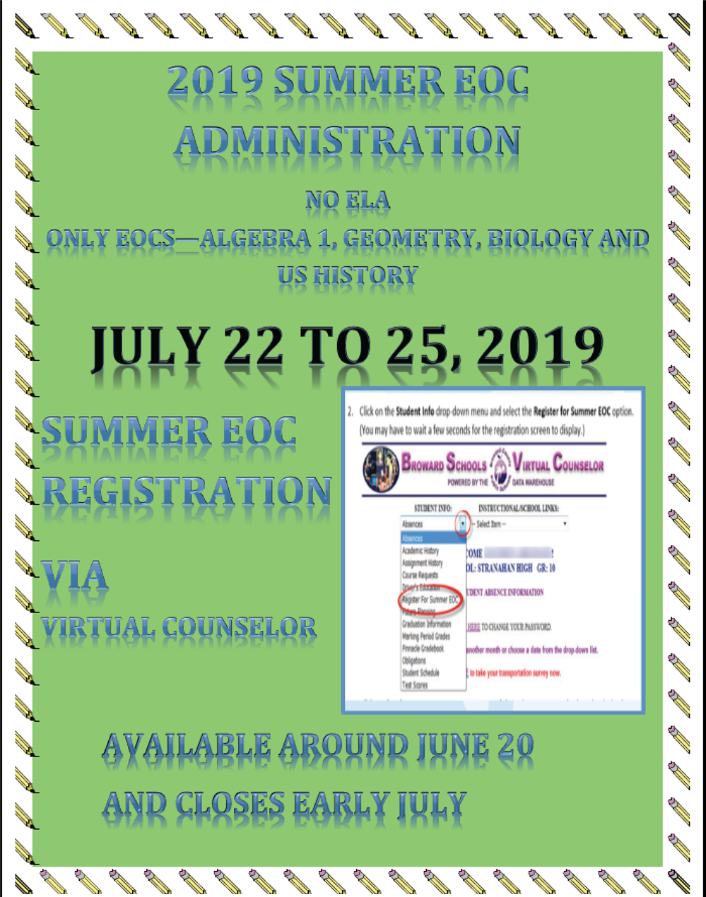 2019 Summer EOC Administration Sessions