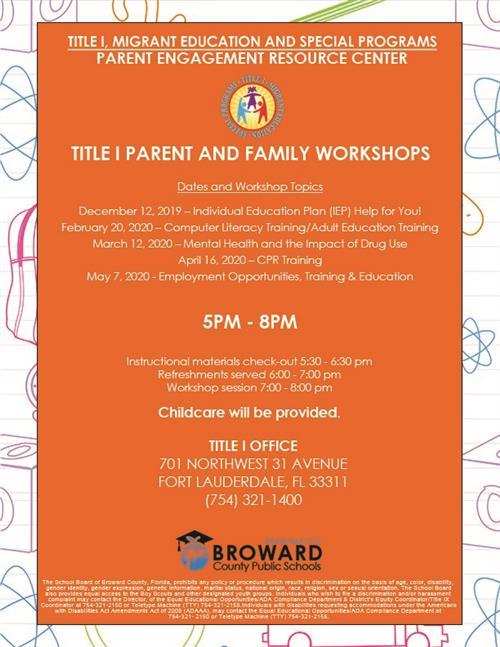 Title 1 Parent Workshops