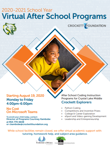 Crockett Explorers after school program sponsored by the Crockett Foundation