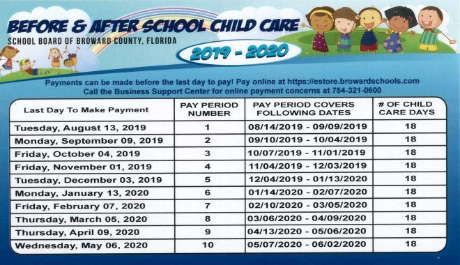 Aftercare 2019-202 payment schedule