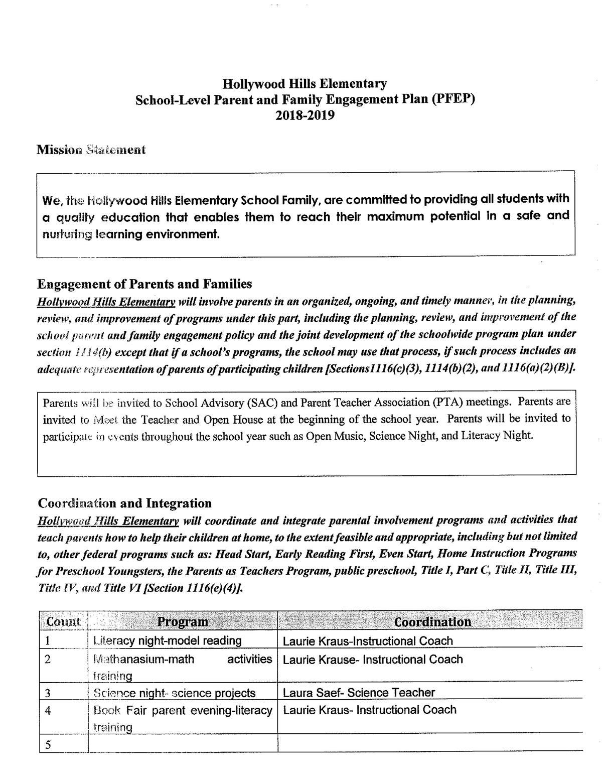 School-Level Parent and Family Engagement PLan (PFEP)