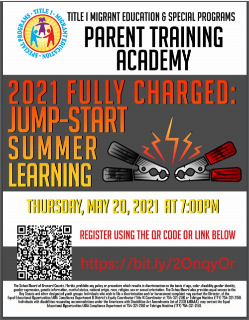 parent training academy summer meeting flyer