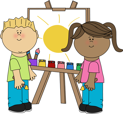 children painting on easel