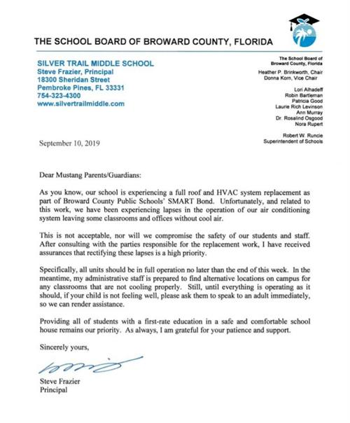 Pic of Principal Frazier's Letter 9 10 19