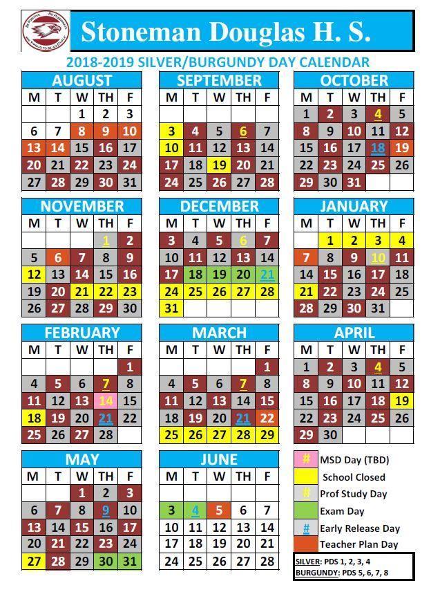 2018 2019 Silver Burgundy Calendar