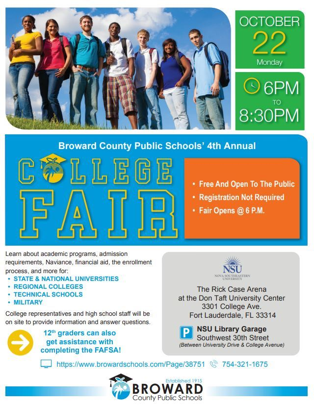 BCPS College Fair Monday, October 22, 2018 6:00-8:30pm