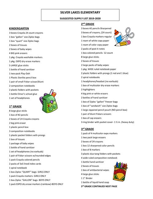 Supply List- Page 1