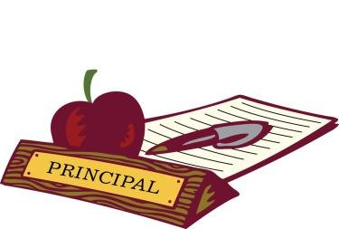 Picture of the words principal and an apple