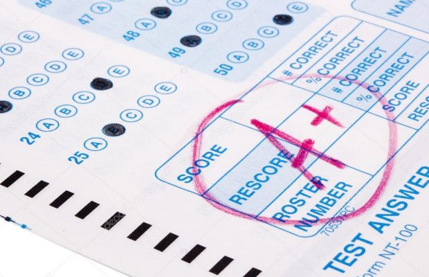 Scantron with an A on it