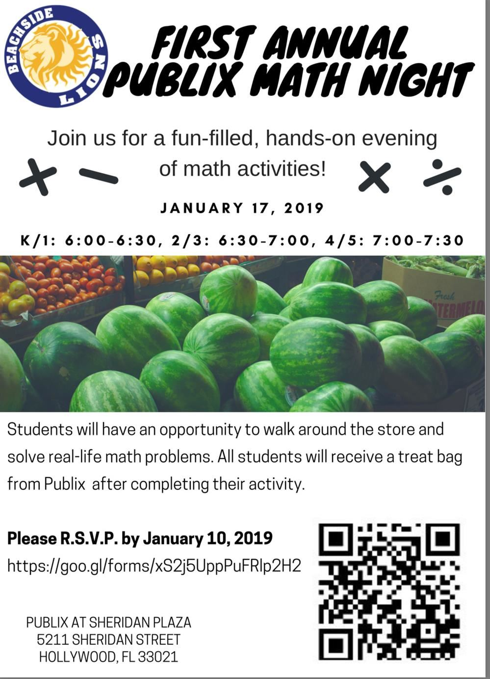 Publix Math Night