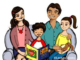 Clipart of a family reading together