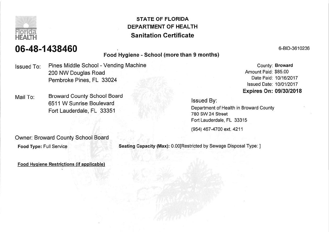 Cafeteria Information Sanitation Certificate