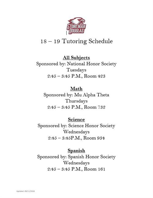 Tutoring Schedule 2018/19