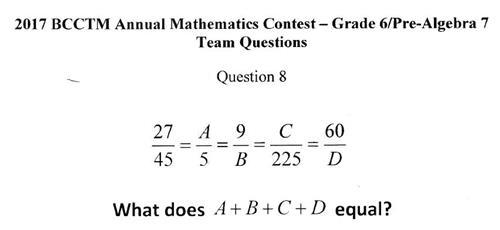 BCCTM Sample Math Question