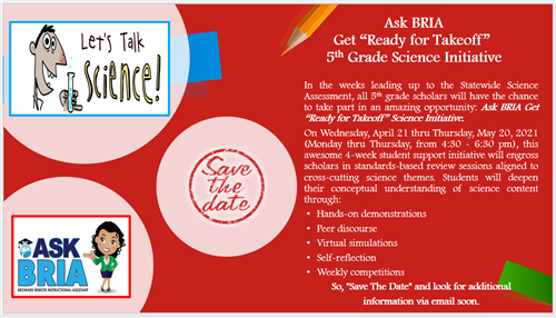 "Ask BRIA Get ""Ready for Takeoff"" 5th Grade Science Initiative"