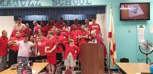 AWA Students wearing red in support of public education