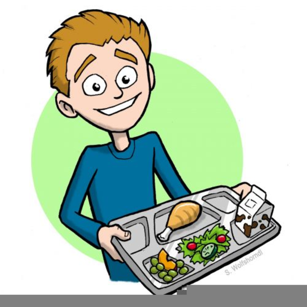cartoon student holding lunch tray