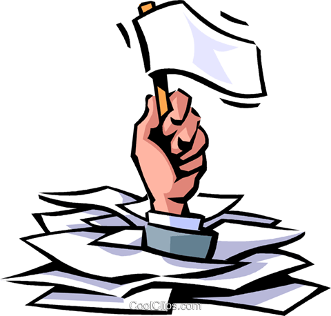 Hand holding white flag coming out of stack of papers