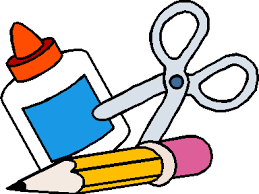 School supply clip art of glue, ruler, and crayons